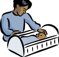 哄着小婴儿睡觉的男人