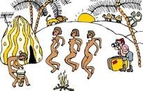 手绘给跳舞的黑人女性拍照的男人