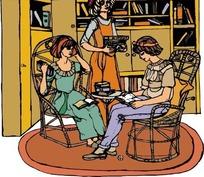 手绘在书房里看书的古代欧洲女人