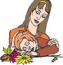 小孩在妈妈怀里睡觉