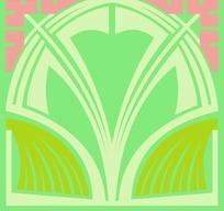 粉红对角浅绿底传统几何对称花朵图案