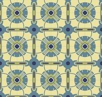 米黄底灰色连续几何对称花朵图案