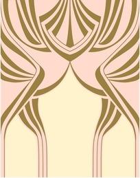 浅黄底粉边金线条几何对称图案