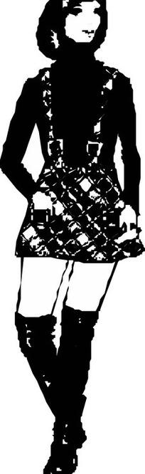 手绘穿短裙的美女