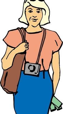 戴相机背包包的女人
