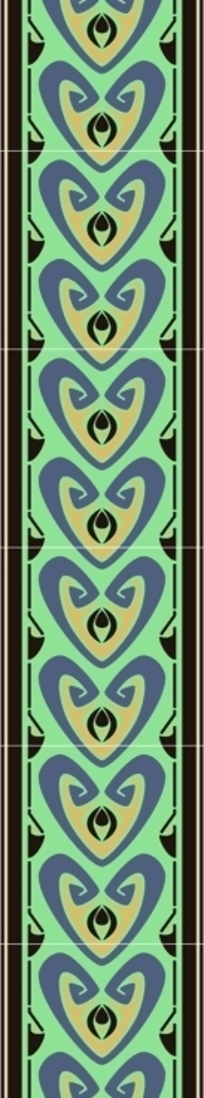 黑底绿橙紫传统几何对称排列图案