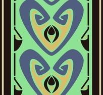 黑底绿橙紫传统几何对称图案