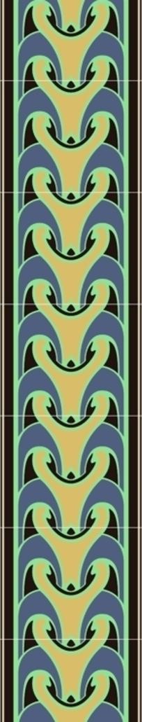黑底绿橙紫几何对称花排列图案