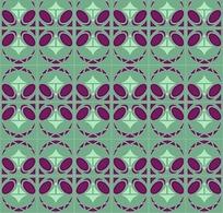 绿兰底紫红几何对称拼贴图案