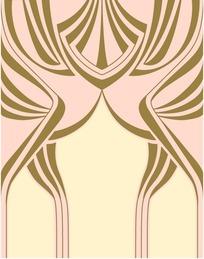 浅黄粉底金色几何对称图案
