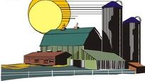 手绘阳光下城市工业园