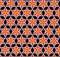红三角形粉六角形橙色六瓣花黑菱形构成的图