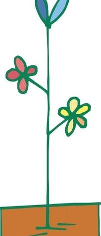 手绘简约土壤小花