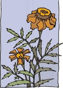 手绘锯齿状的叶子和盛开的花朵图片