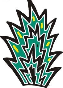 手绘边缘锯齿状的绿叶图片