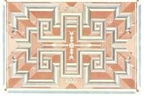 浅兰边框灰咖立体几何对称图案