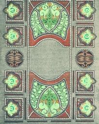 长方形灰绿底几何对称图案