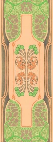 nu形绿枝叶纹和中边形内绿缠枝花纹构成的背景
