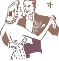 牵着手搭着肩跳交谊舞的男女