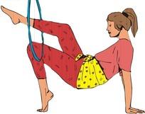 正在双手撑起身体单脚玩呼啦圈的女人