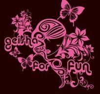蝴蝶与女孩印花图案