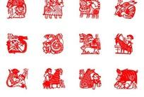 一款与人物结合的12生肖剪纸矢量素材