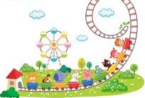 儿童和动物玩过山车