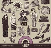 中世纪素描妇女用品