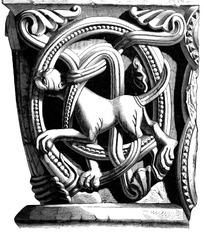 条带卷绕动物纹连珠纹几何纹构成的雕刻图案