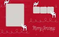 红色吉祥圣诞驯鹿相框