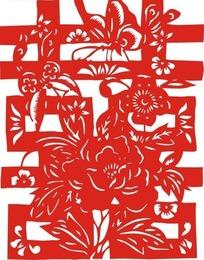 红双喜剪纸艺术矢量素材