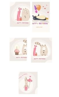 可爱的生日快乐卡矢量图