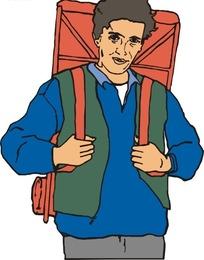 背着包包的男人矢量图