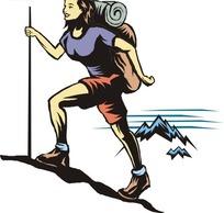 背着包包登山的女人矢量图