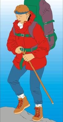 背着包包拿着棍子登山的女人矢量图