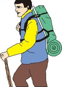 背着背包拿着棍子的男人矢量图