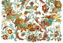 缠枝花纹花环纹鸟纹蜻蜓蝴蝶纹构成的花纹图