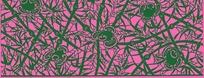 粉红底竹枝花叶纹卷曲纹构成的雕刻图案