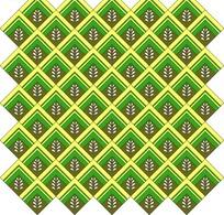 黄绿边菱形和黑底白草纹鳞片状重复构成的图案