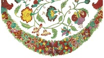 黄绿红缠枝花纹弧线花环纹构成的花纹图案
