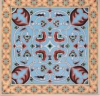 蓝底缠枝花纹橙色菱形花朵纹装饰的地毯图案