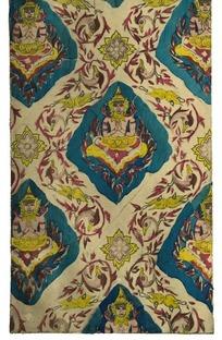 蓝红黄佛像纹缠枝花鸟纹菱形框格纹构成的图案