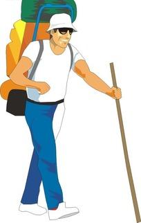 拿着棍子背着包包的男人矢量图