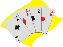 四张手绘A扑克牌
