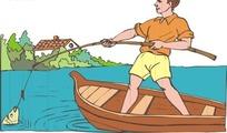 小船上钓鱼的小男孩