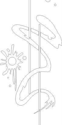 圆形竖线折曲水浪花纹移门图