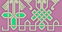 紫底黑边灰绿几何对称图案