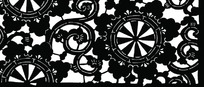卷曲枝叶纹轮盘花朵纹构成的雕刻图案