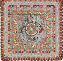 彩格太阳纹白连珠纹飞天花团装饰的地毯图案