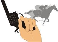 拿着发令枪的手和骑马人物剪影